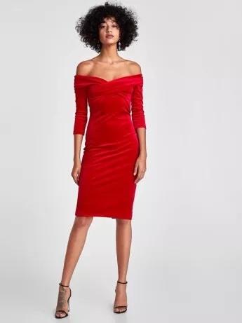 Aksamitna czerwona ołówkowa sukienka ZARA rozmiar