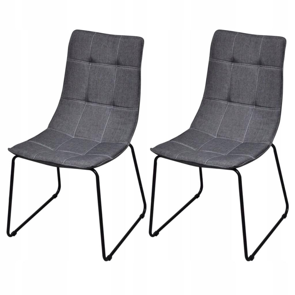 Krzesła stołowe, 2 szt., ciemnoszare, tkanina