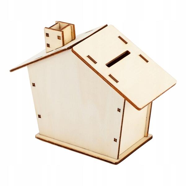 EKO drewniana skarbonka ~domek