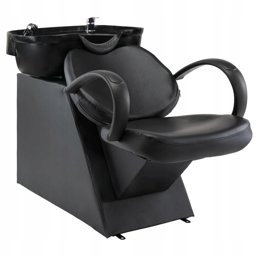 Myjnia fryzjerska, fotel z umywalką, czarna,