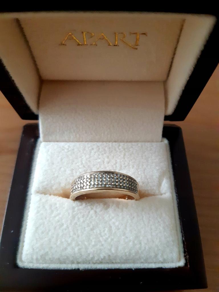 Złoty pierścionek z brylantami APART r. 13