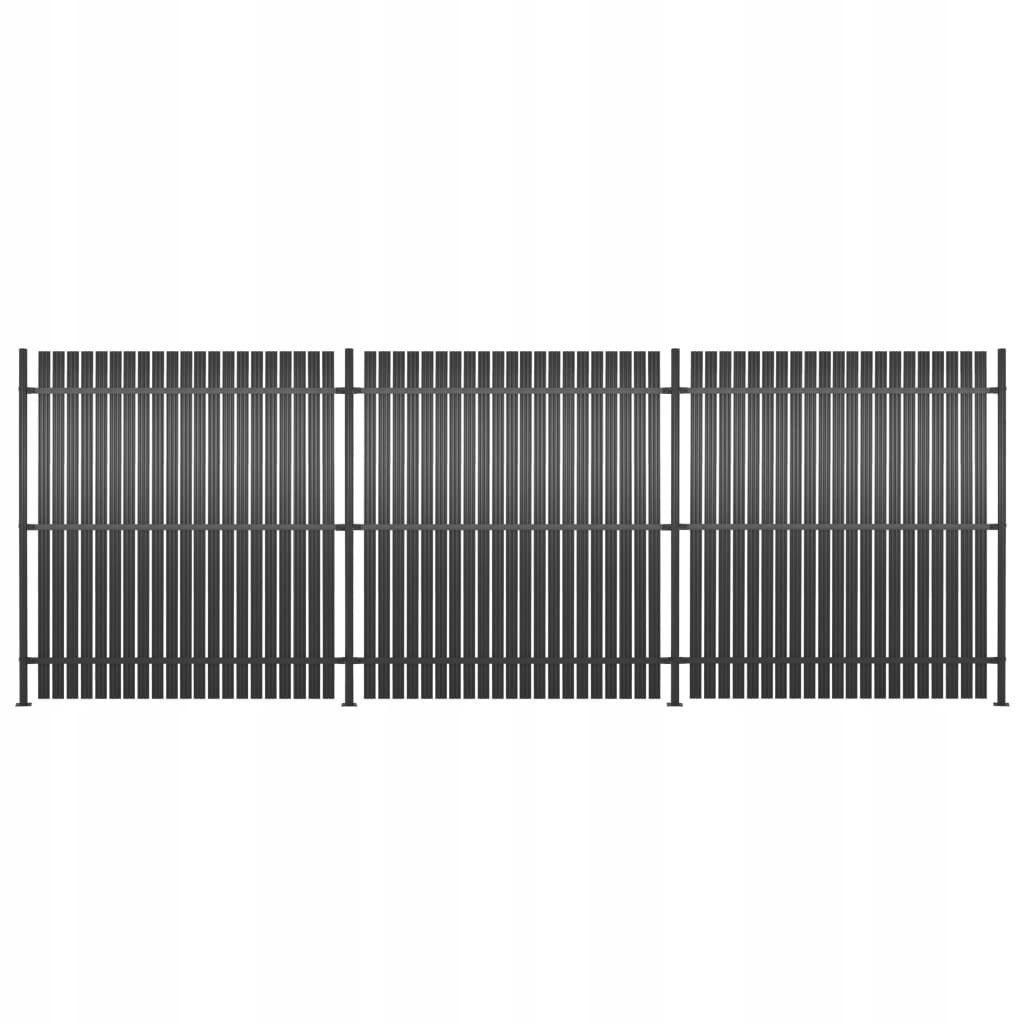 Panele ogrodzeniowe, 3 szt., aluminium, 540 x 180
