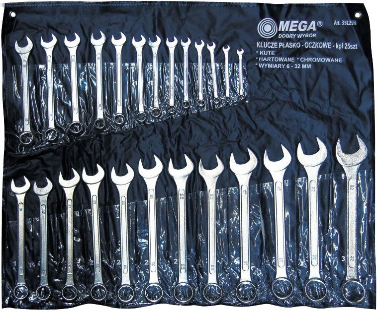 Klucze płasko oczkowe 25 sztuk rozmiar 6-32m MEGA