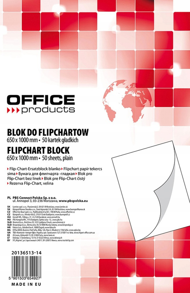 Blok do flipchartów gładki 65x100cm 50 kart biały