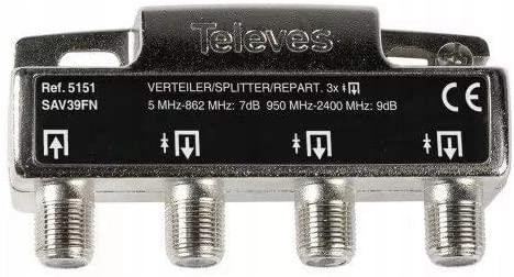 Rozgałęźnik 1/3 Televes 5151 RTV SAT 5-2400 MHz