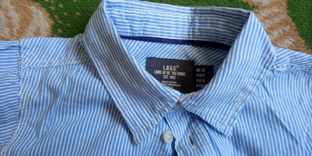 H&M koszula błękitna r. 122 chłopak 6-7 lat