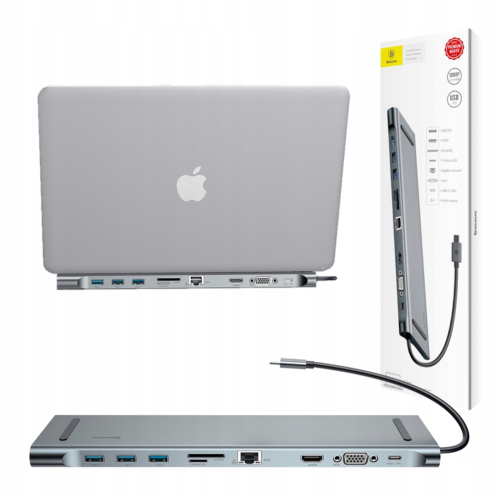 BASEUS ADAPTER MACBOOK PRO HUB USB-C 3.0 HDMI VGA