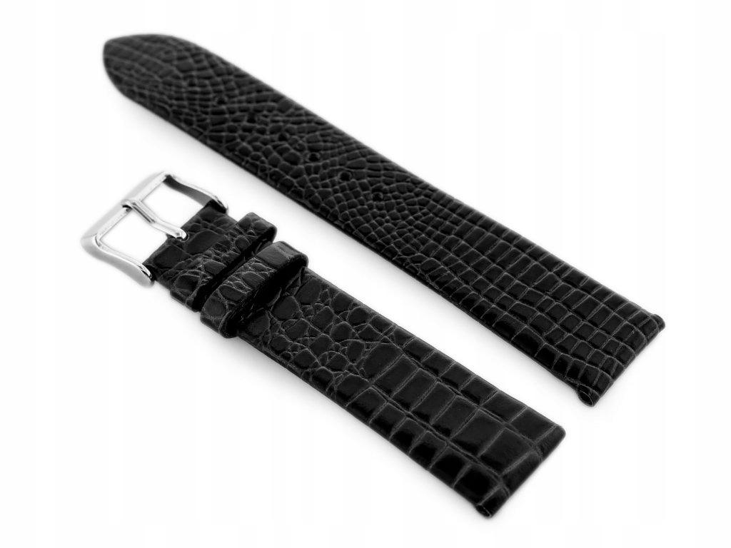 Pasek skórzany do zegarka W57 - czarny - 18mm