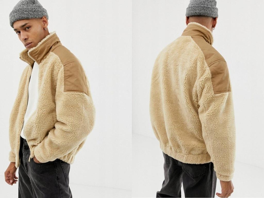 Bershka - Beżowa kurtka baranek polar S