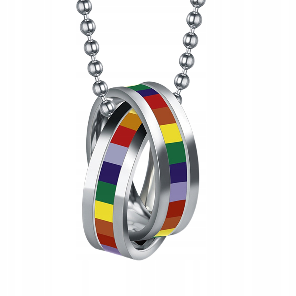 Rainbow Necklace Couple Ring Shaped Neck Pendant H