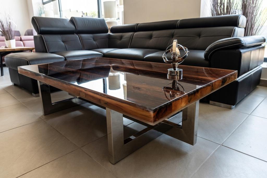 Stół KAWOWY stolik STARE DREWNO 160cm żywica ława