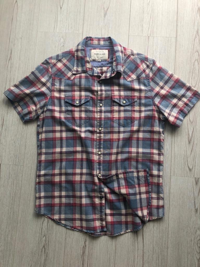 RIVER ISLAND koszula męska w kratę krótki rękaw M