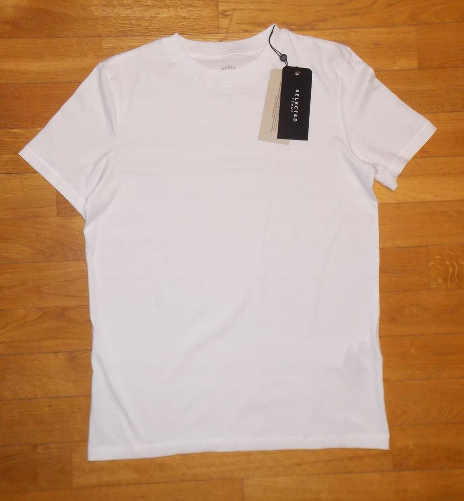 koszulka SELECTED biały oryginalny gładki NOWY S