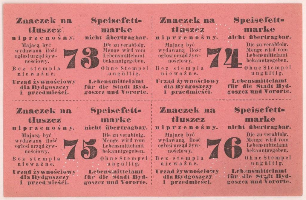 4565. Bydgoszcz Karta zaopatrzeniowa na Tłuszcz
