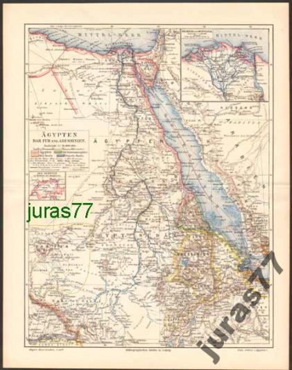 EGIPT, DAR FUR, ABISYNIA mapa z 1897 roku