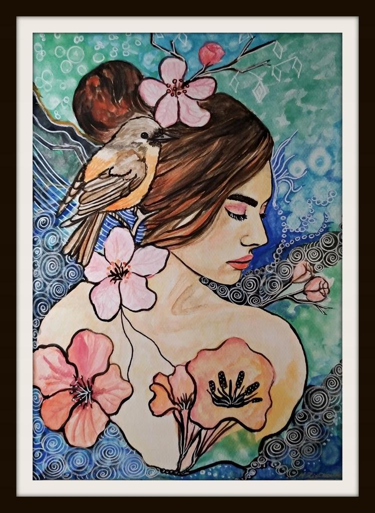 Akwarela obraz Kobieta 001