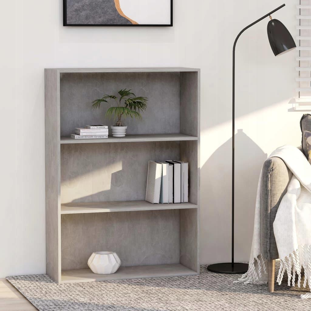 Regał na książki, 3 półki, betonowy szary, 80x30x1