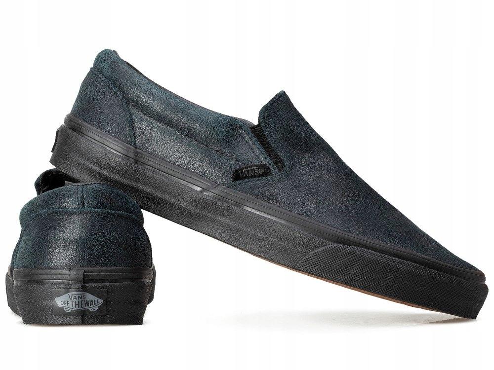 CZARNE buty damskie VANS trampki WSUWANE skórzane