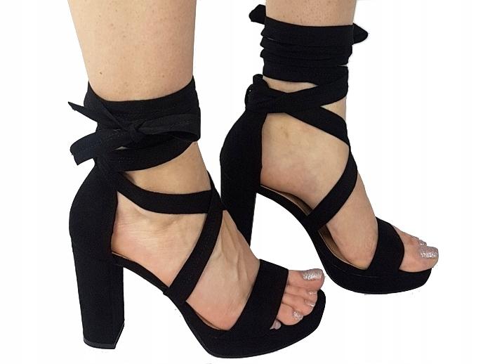 Czarne sandały na słupku, 36, wiązane, platforma,sandały