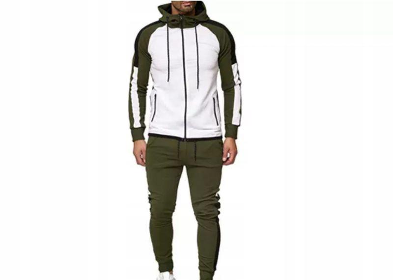 Dres Męski Bluza Spodnie Komplet Trójkolorowy XL