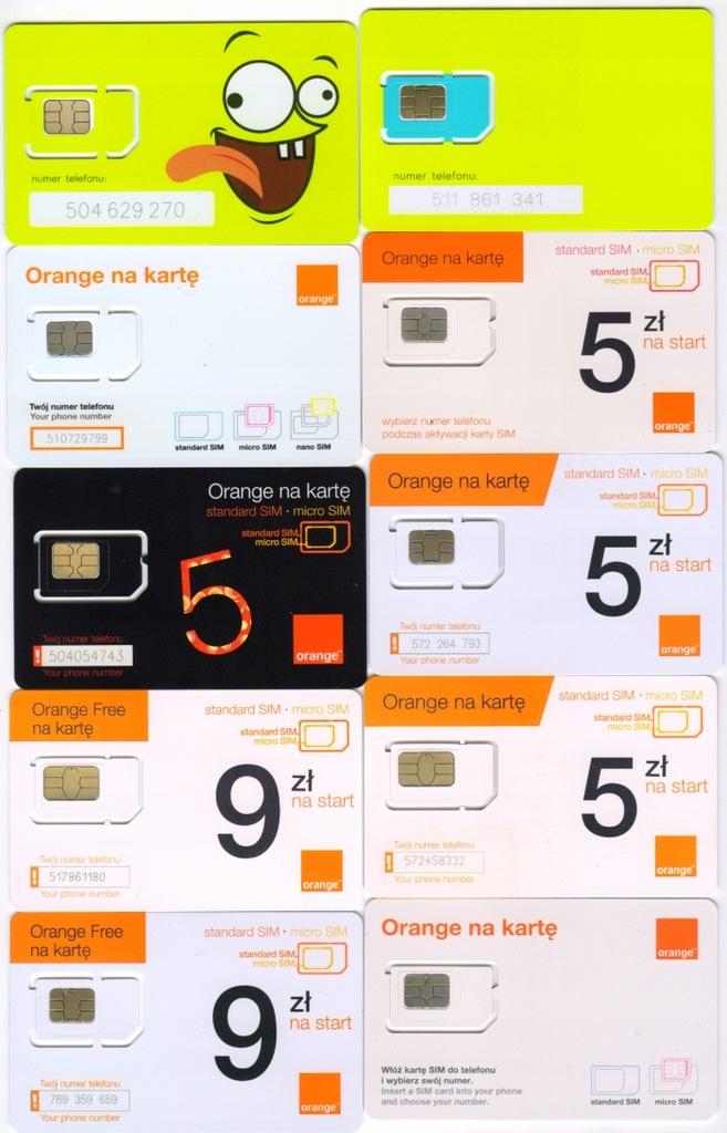 Ramki GSM ORANGE -10 kart - każda inna zestaw 1