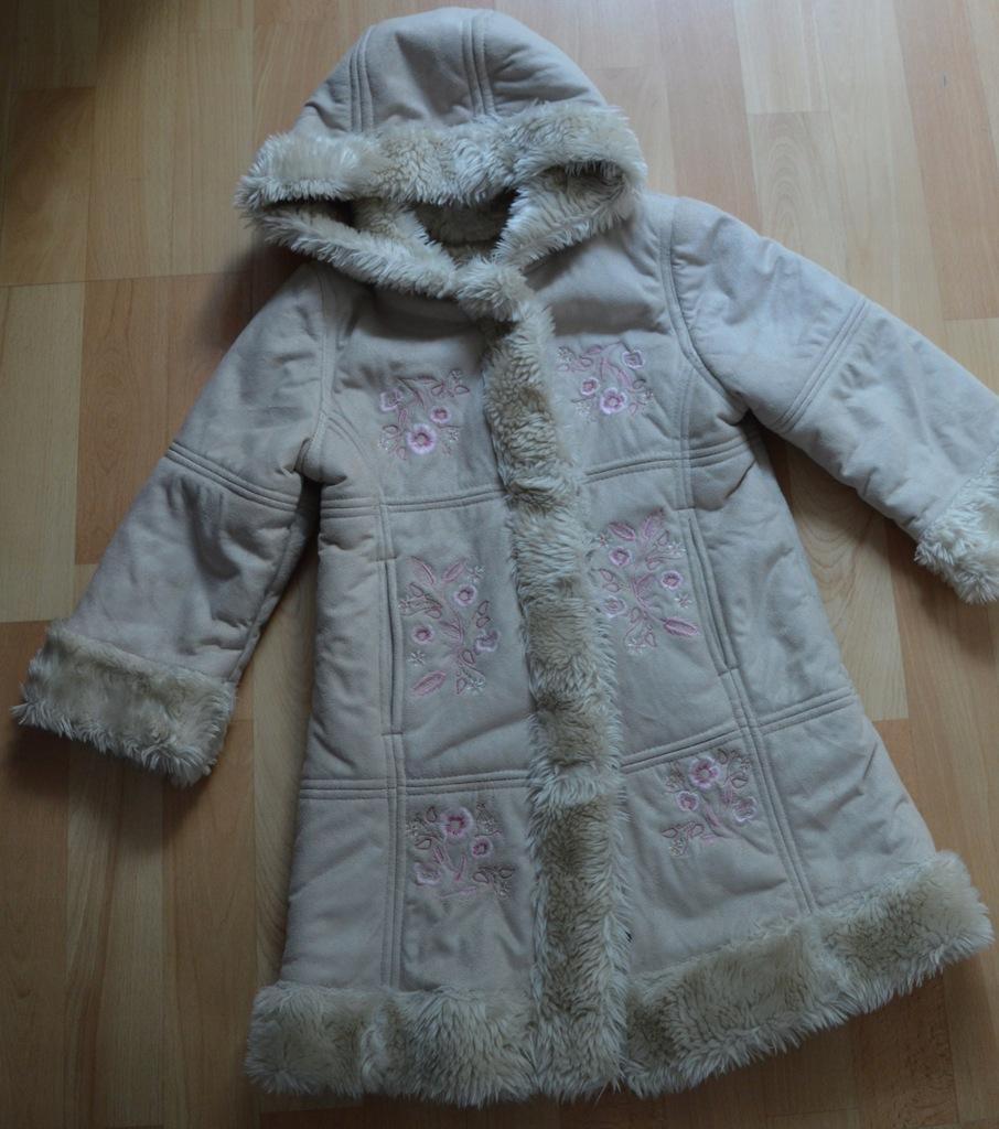 beżowy kożuszek George zima 4-5 lat 104-110 cm