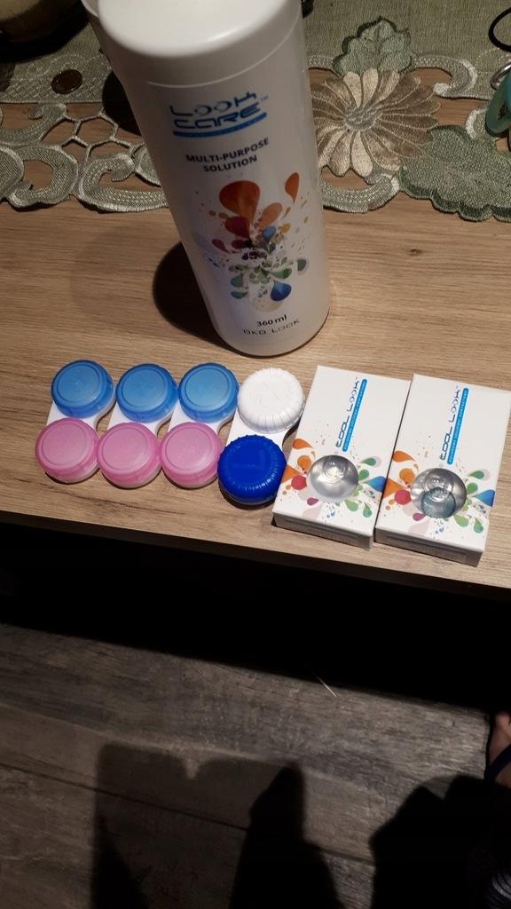 OPTILAND soczewki zerowe kolorowe miesięczne+ płyn