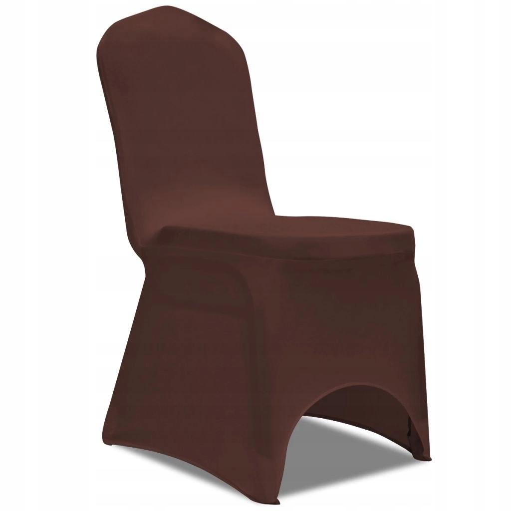 Elastyczne pokrowce na krzesło brązowe 6 szt.