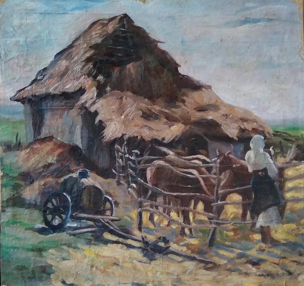Konie huculskie - olej - Marian Strzembosz 1920 r.