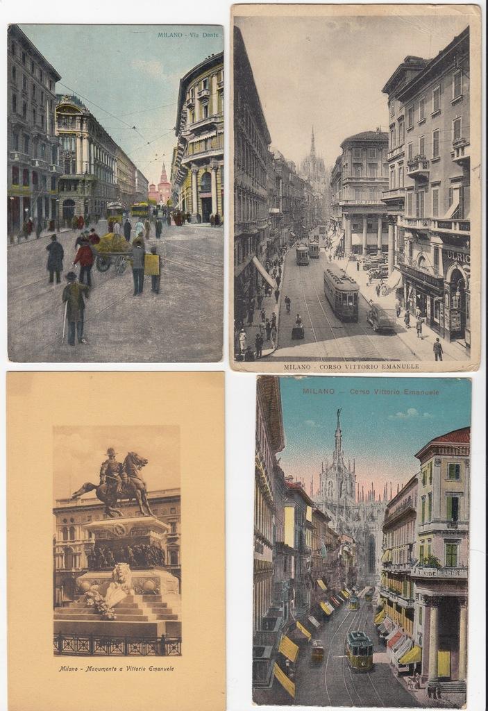 Stare pocztówki Włochy Mediolan (4 szt.) 4Y27