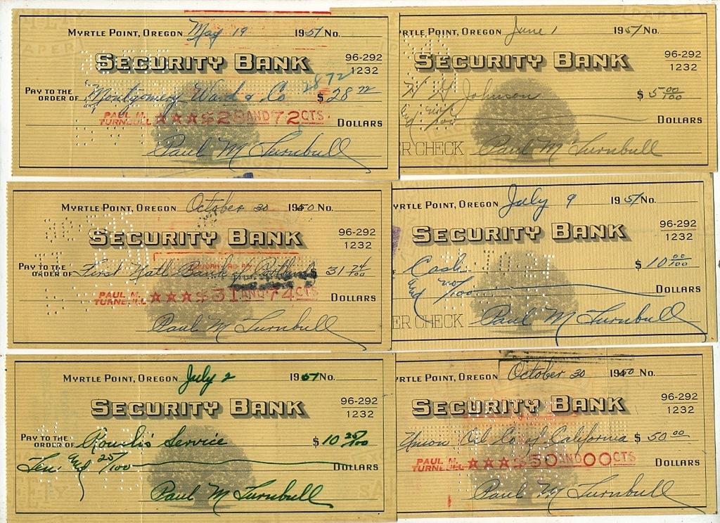 Zestaw czeków Security Bank USA - połowa XX w.