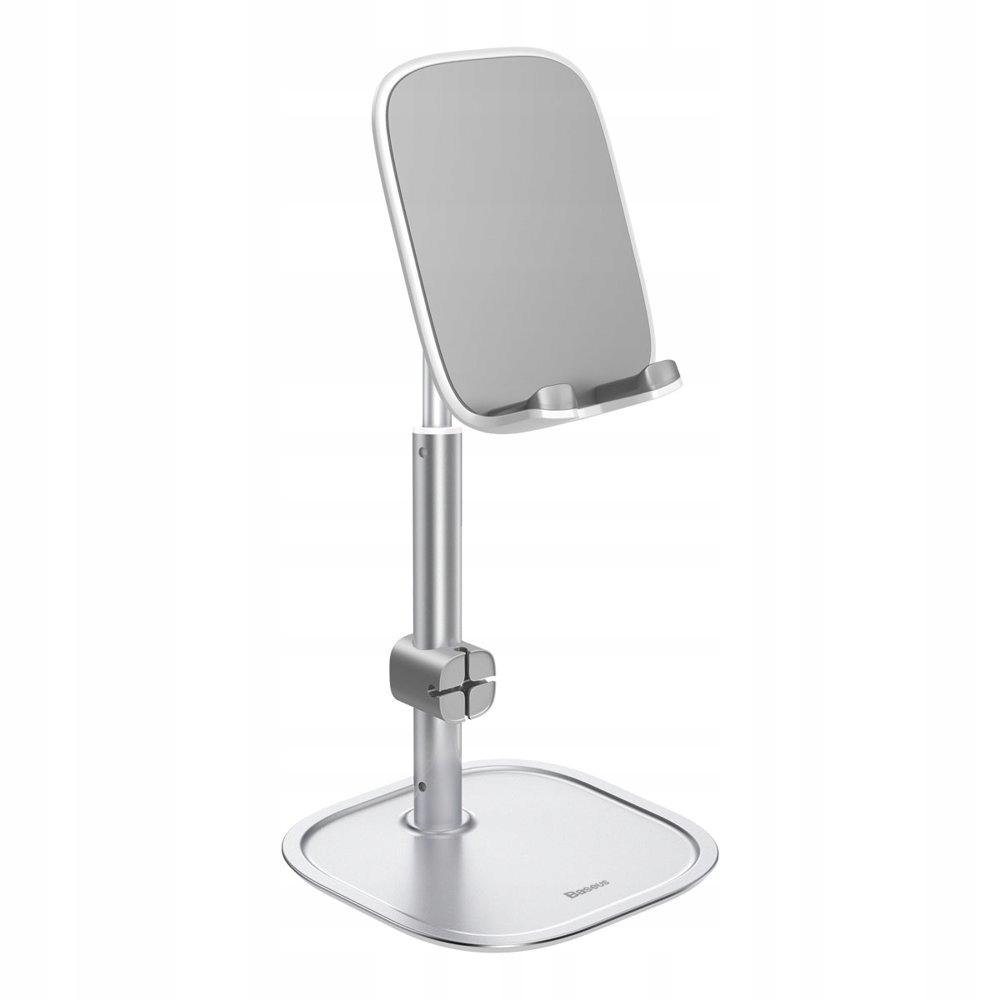 biurkowy stojak uchwyt na telefon tablet srebrny