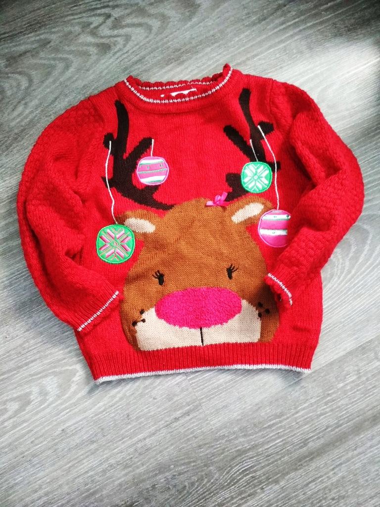 George 104 110 cm sweter renifer święta bombki HIT
