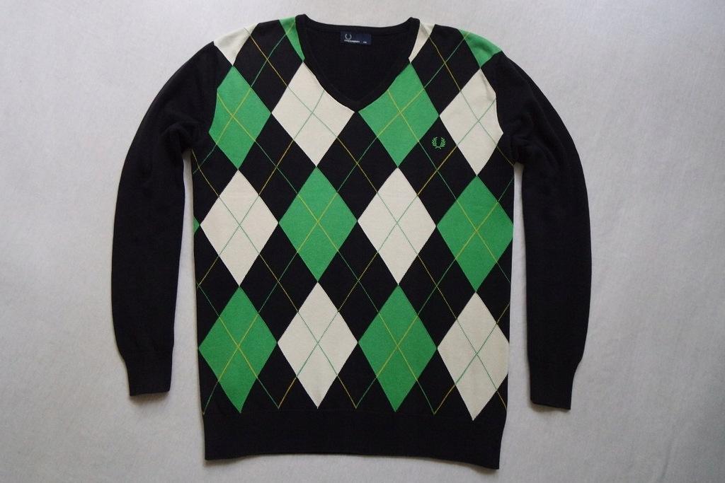 FRED PERRY sweter sweterek granatowy logowany__XXL