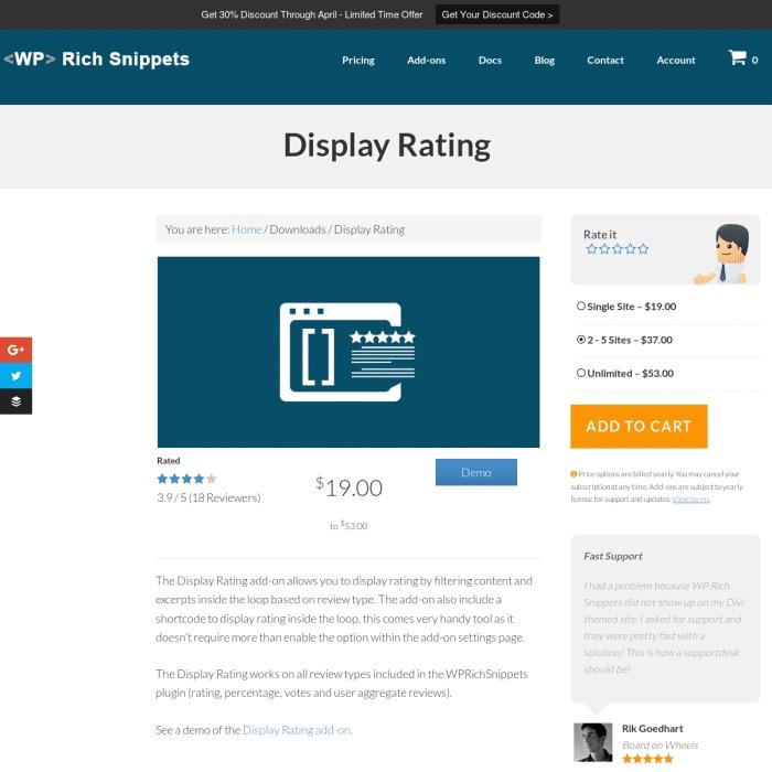 Wtyczka WP Rich Snippets Display Rating Addon