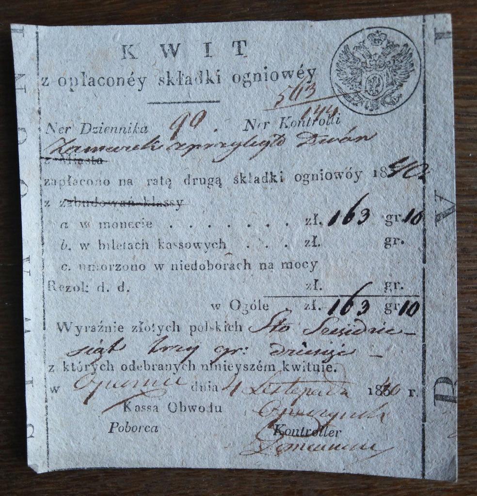 Kwit składki ogniowej, Opoczno 1840 r.