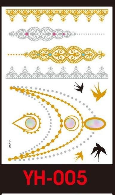 Tatuaże metalic złote srebrne FLASH TATTO YH-005