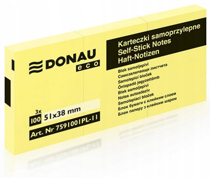 Karteczki samoprzylepne 38X51MM, 3X100 kart. Donau