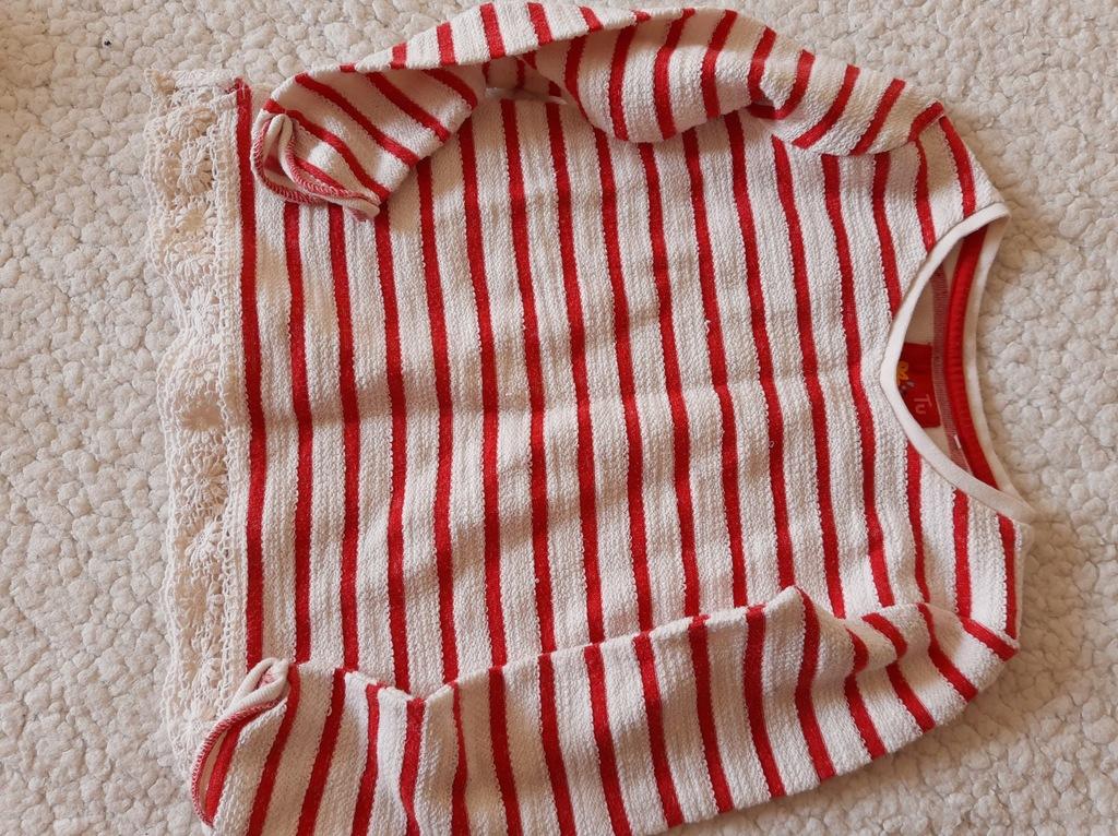 TU sweterek w paski 110-116