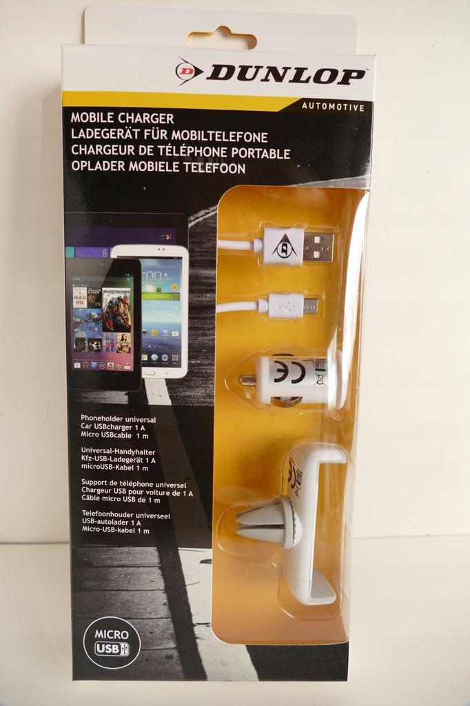 Ładowarka Samochodowa micro USB Dunlop 1m + uchwyt