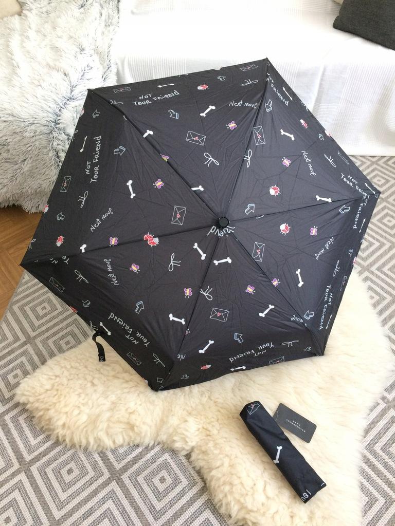 ZARA parasol parasolka składana czarna nadruk
