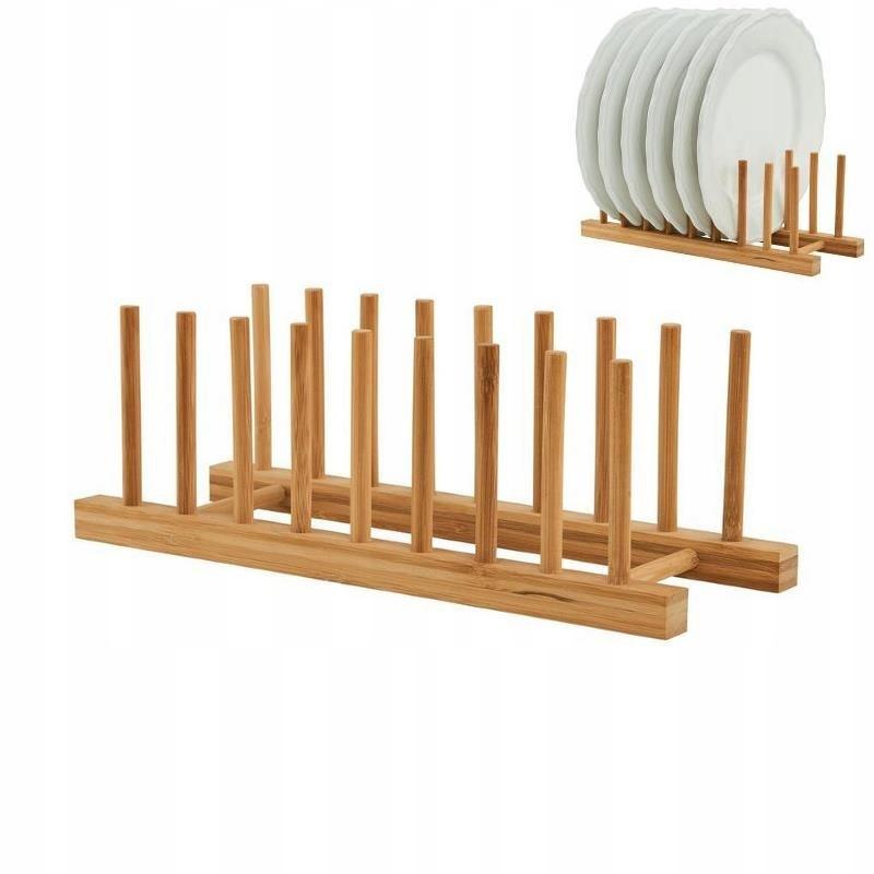Stojak na talerze organizer bambusowy