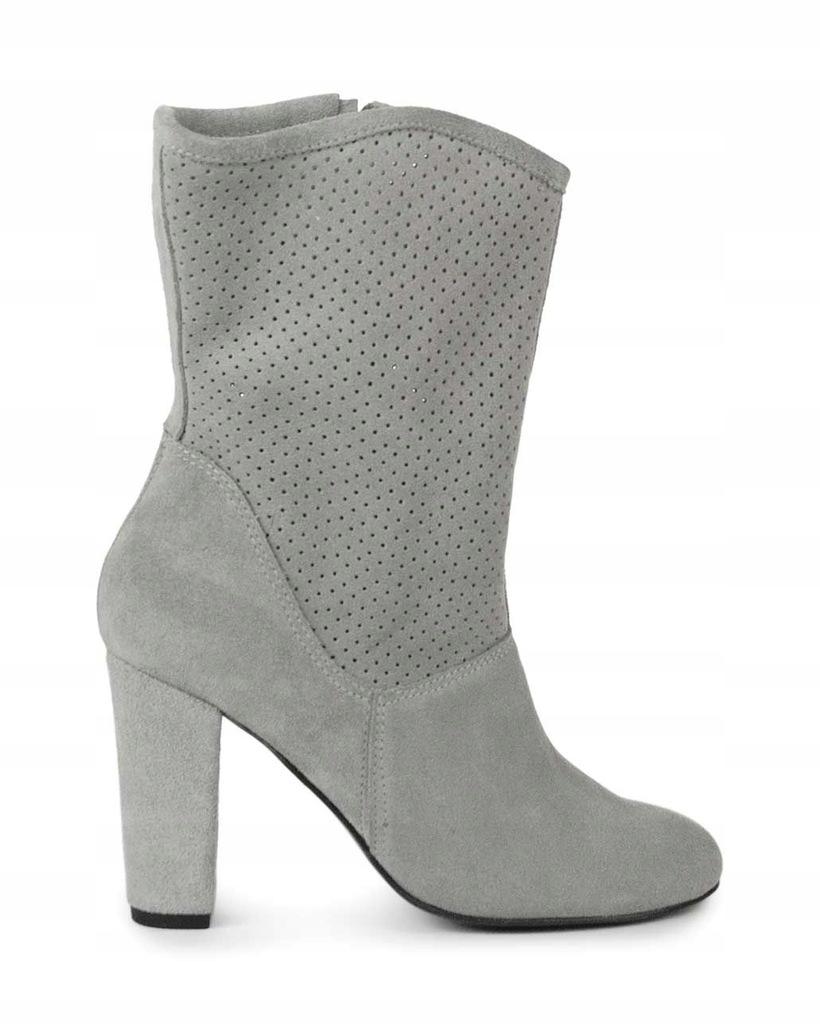 Eleganckie polskie sandały skórzane buty damskie na słupku Lori