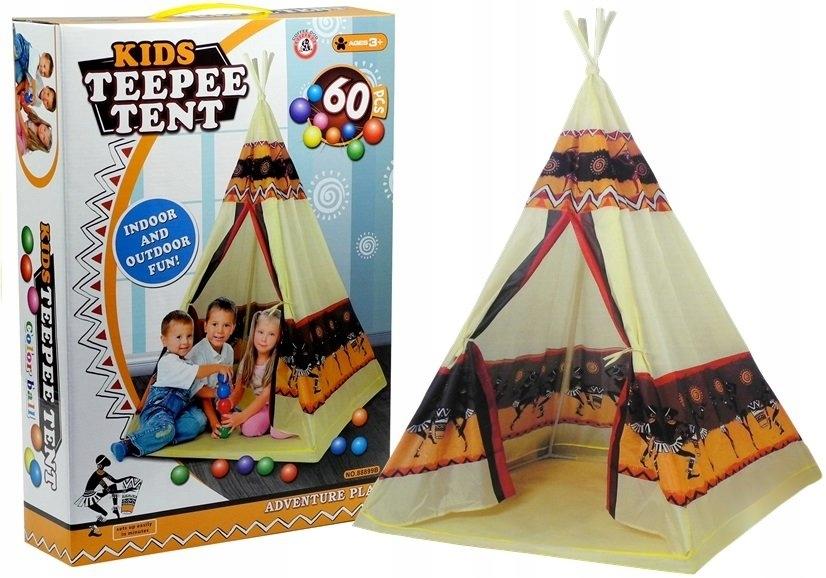 Namiot Tipi Indiański Dom Zabaw + 60 Piłek 155 cm