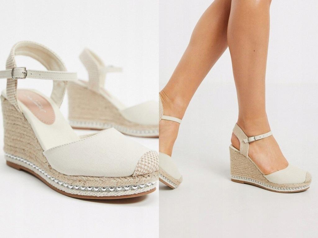 New Look Espadryle na koturnie sandały 40