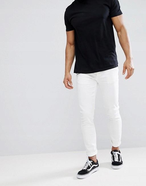 AA RIVER ISLAND białe jeansy skinny W 32 L 32