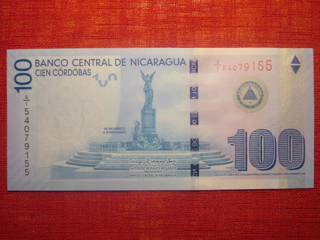 NIKARAGUA 100 CORDOBAS P-208a 2007/12 UNC RZADKI