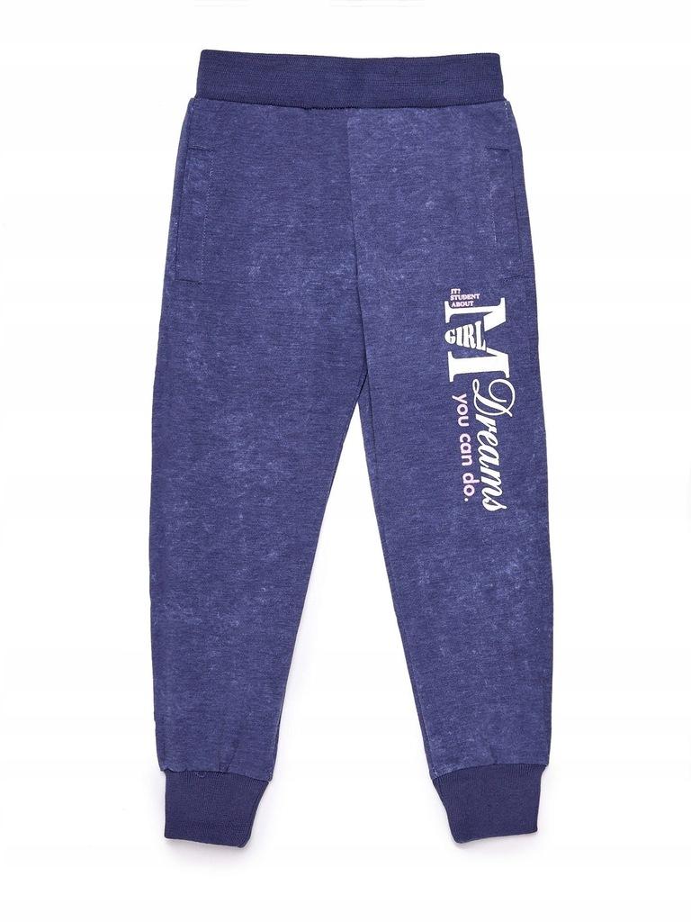 Granatowe spodnie dresowe dla dziewczynki 4