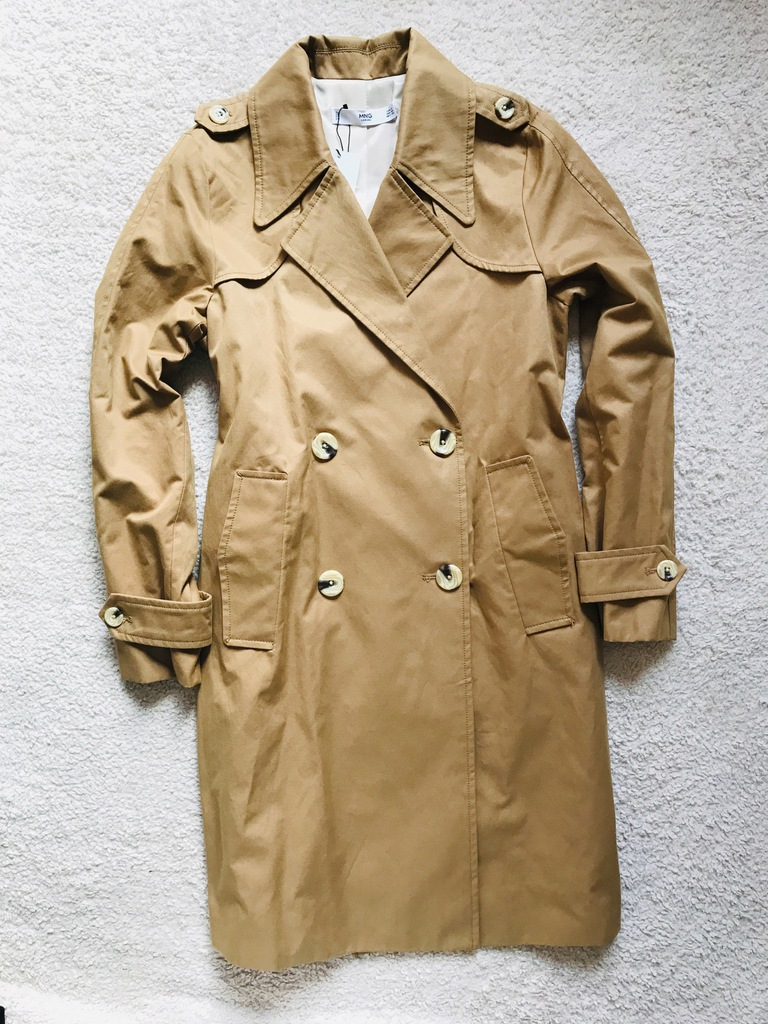 Karmelowy trencz MANGO dwurzędowy płaszcz beżowy S