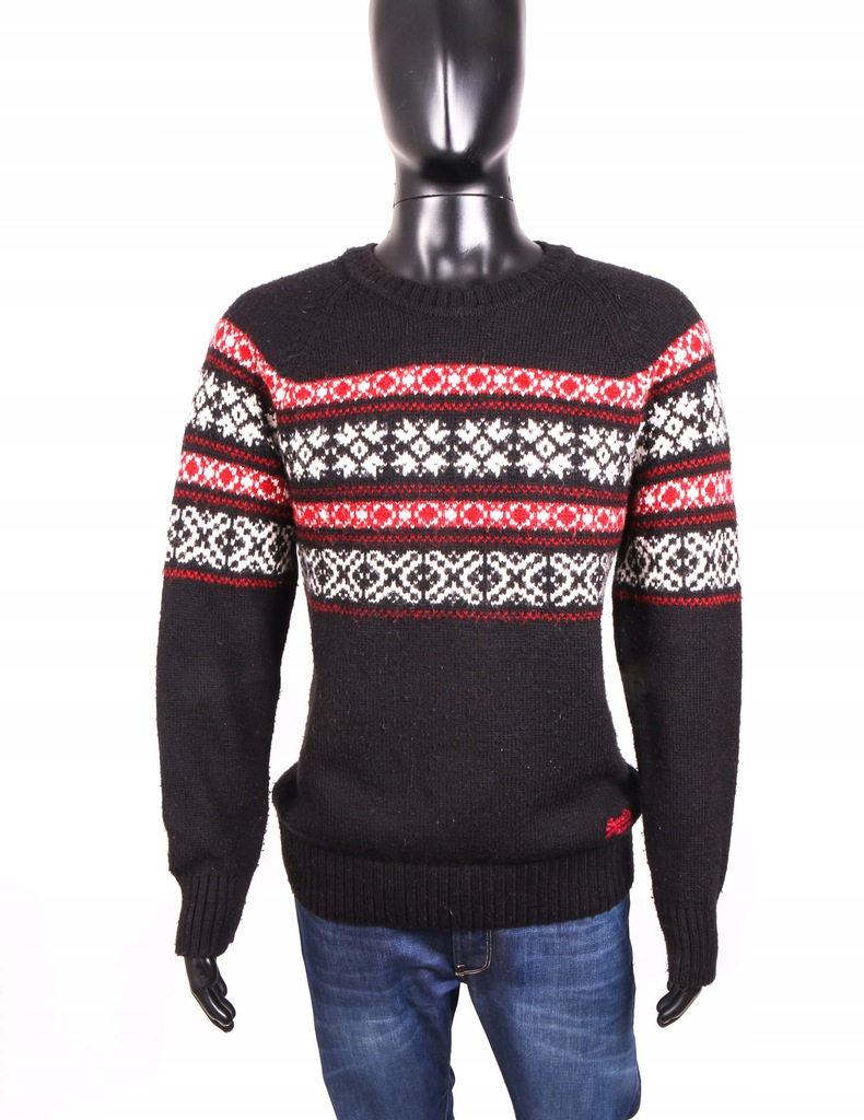 *Superdry Vintage Sweter Męski Wzorek Czarny r XXL